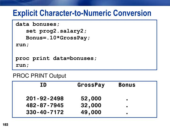 Explicit Character-to-Numeric Conversion