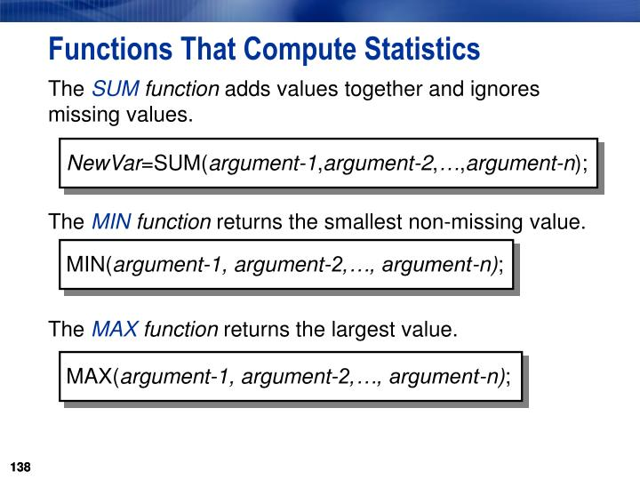 Functions That Compute Statistics