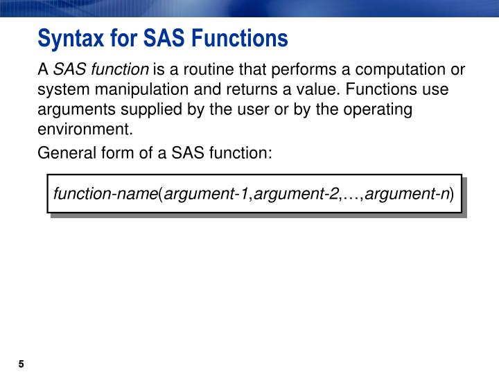 Syntax for SAS Functions
