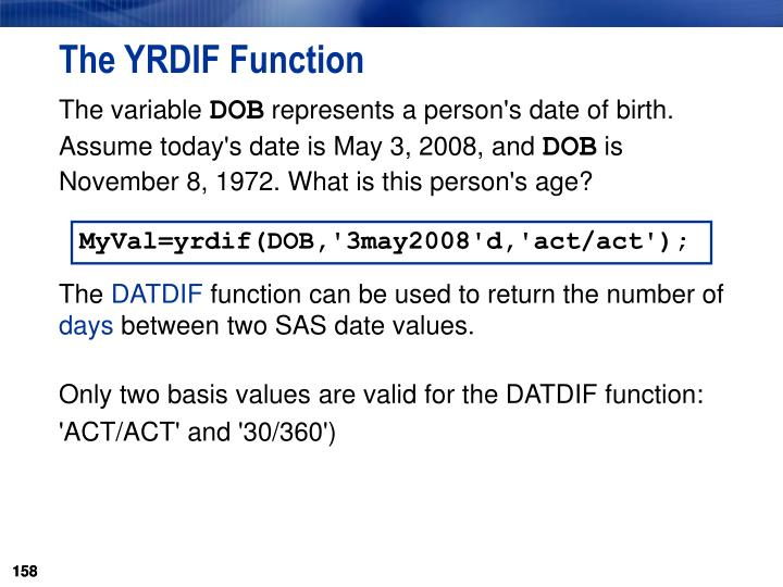 The YRDIF Function