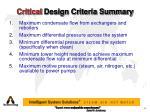 critical design criteria summary