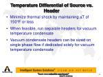 temperature differential of source vs header