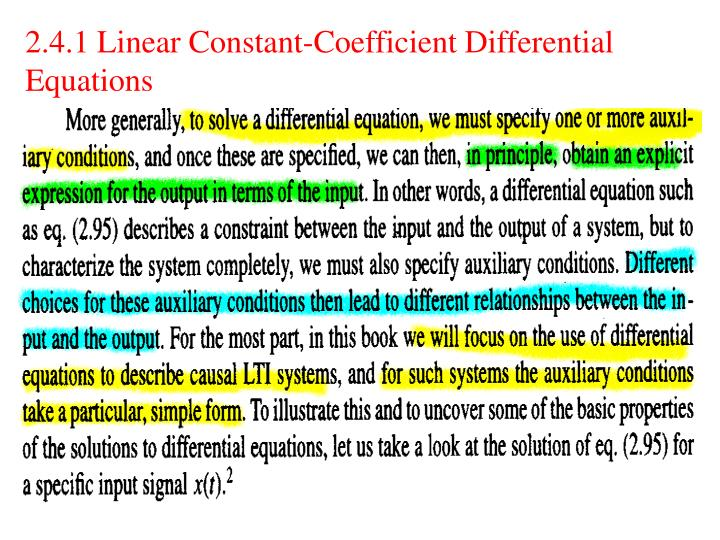 2.4.1 Linear Constant-Coefficient Differential Equations