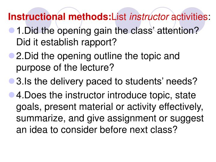 Instructional methods: