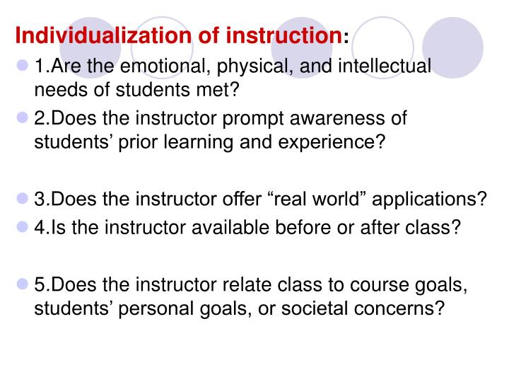 Individualization of instruction