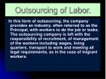outsourcing of labor