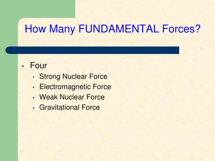How Many FUNDAMENTAL Forces?