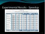 experimental results speedup