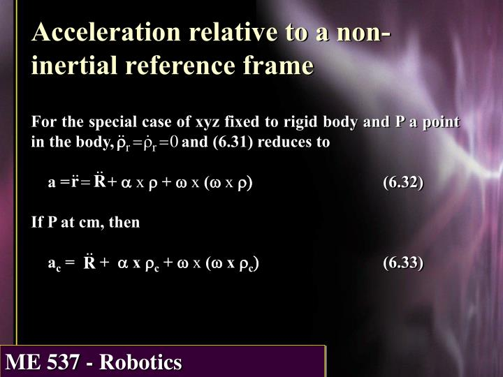 Acceleration relative to a non-inertial reference frame