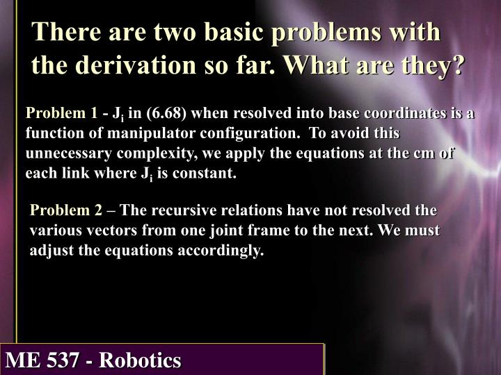 There are two basic problems with the derivation so far. What are they?