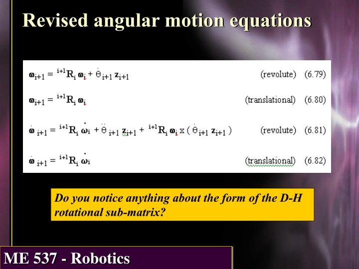 Revised angular motion equations