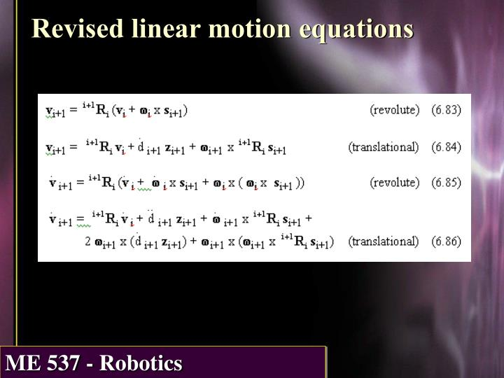 Revised linear motion equations