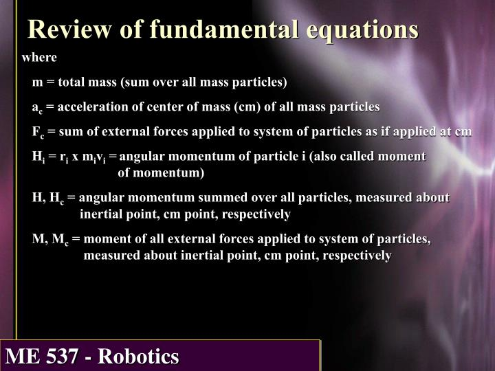 Review of fundamental equations