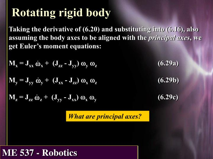 Taking the derivative of (6.20) and substituting into (6.16), also assuming the body axes to be aligned with the