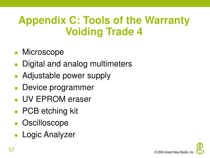Appendix C: Tools of the Warranty Voiding Trade 4