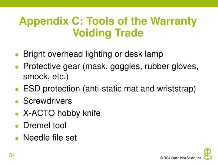 Appendix C: Tools of the Warranty Voiding Trade