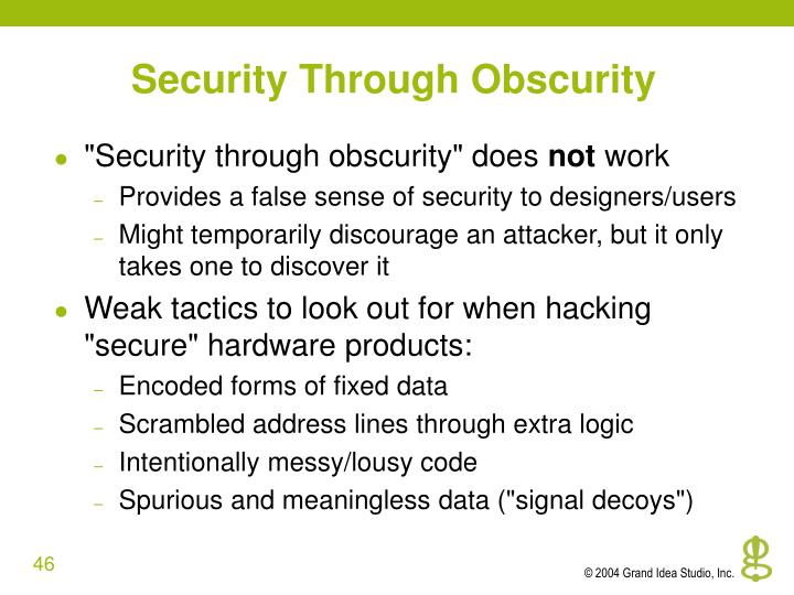 Security Through Obscurity
