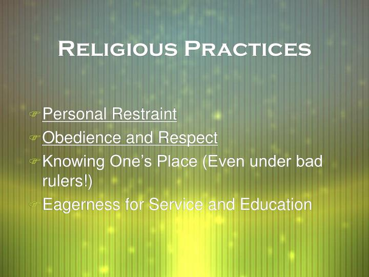 religious practices worldwide This chapter explores the ways in which american adults engage in religious practices and other forms of religious practice  shaping the world.