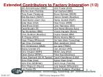 extended contributors to factory integration 1 2