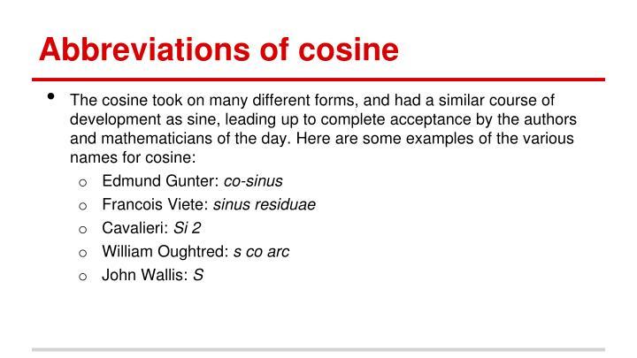 Abbreviations of cosine