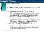 characteristics of placements and students