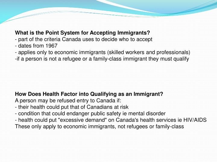 What is the Point System for Accepting Immigrants?