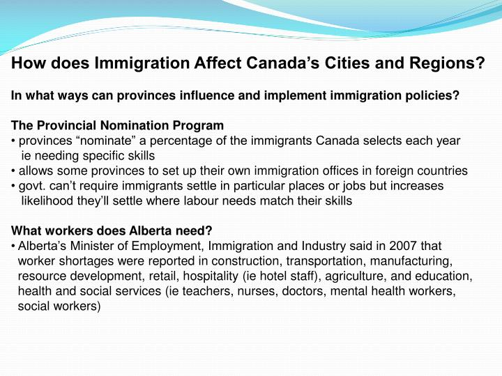 How does Immigration Affect Canada's Cities and Regions?