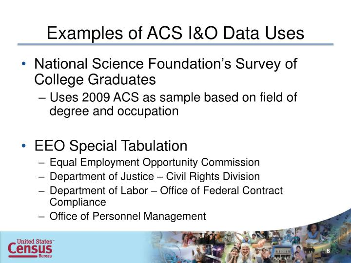 Examples of ACS I&O Data Uses