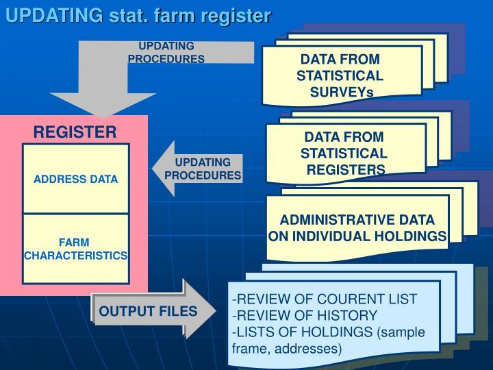 UPDATING stat. farm register
