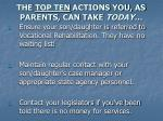 the top ten actions you as parents can take today