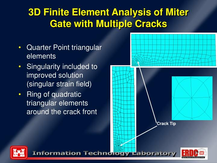3D Finite Element Analysis of Miter Gate with Multiple Cracks