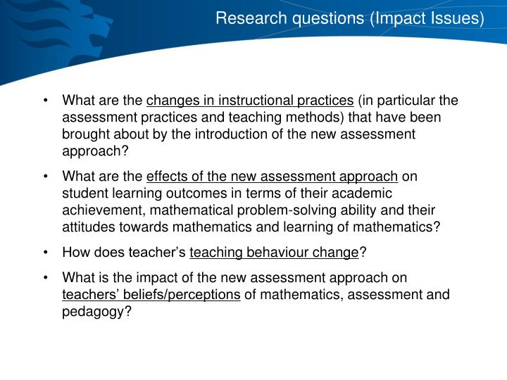 Research questions (Impact Issues)