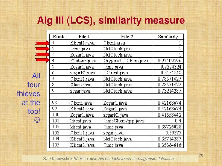 Alg III (LCS), similarity measure