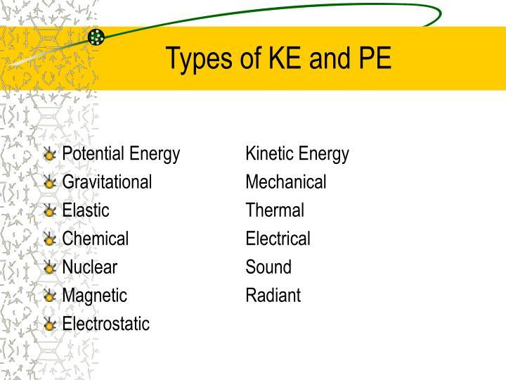 Types of ke and pe