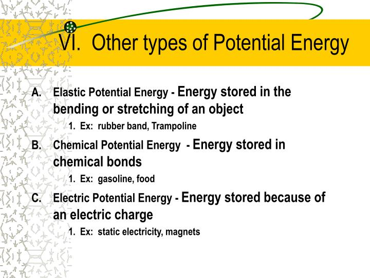 VI.  Other types of Potential Energy