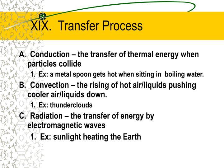 XIX.  Transfer Process