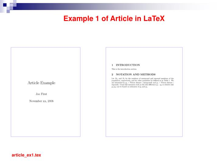 Example 1 of Article in LaTeX