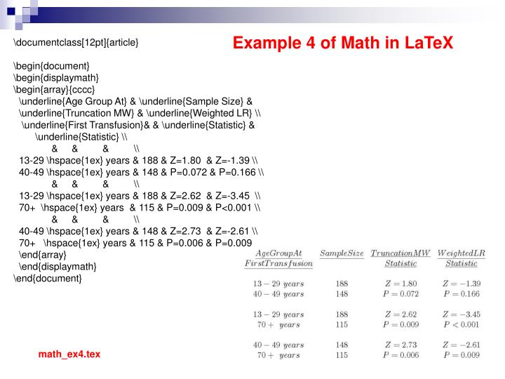 Example 4 of Math in LaTeX