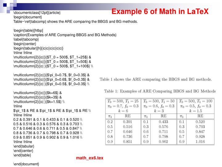 Example 6 of Math in LaTeX