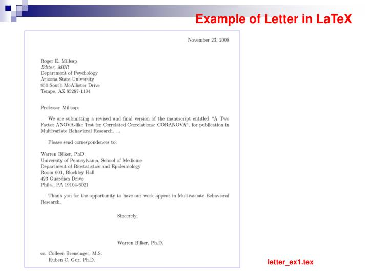Example of Letter in LaTeX