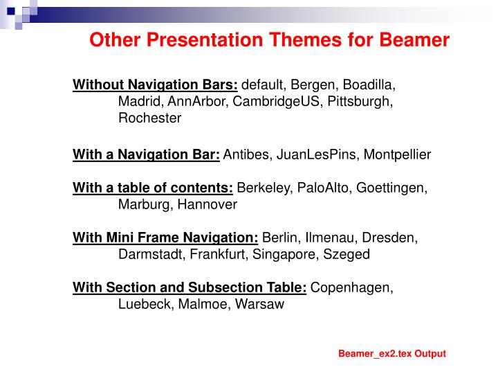Other Presentation Themes for Beamer
