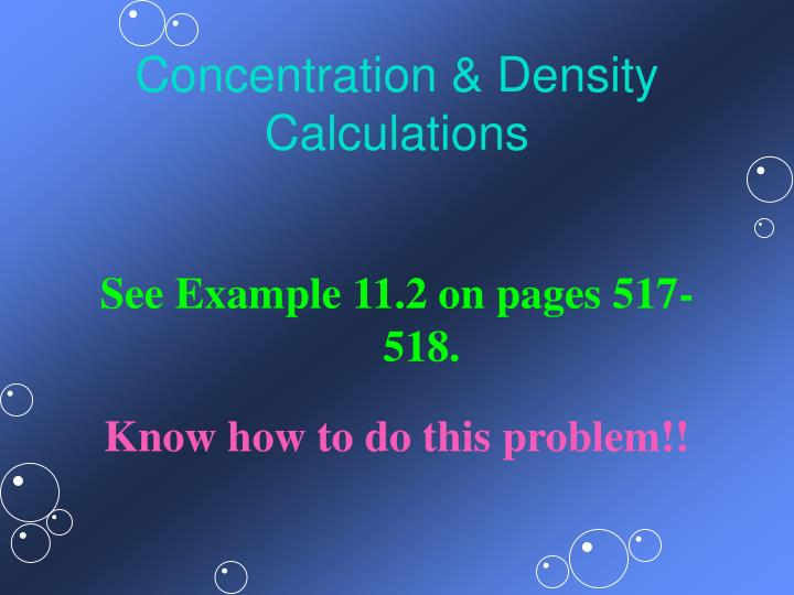Concentration & Density Calculations
