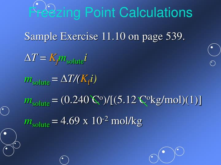 Freezing Point Calculations
