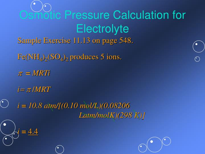 Osmotic Pressure Calculation for Electrolyte