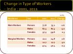 change in type of workers india 2001 2011