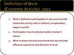 definition of work economic activity 2011
