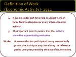 definition of work economic activity 20111
