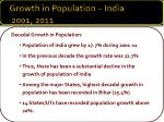 growth in population india 2001 2011