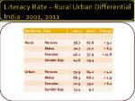 literacy rate rural urban differential india 2001 2011