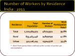 number of workers by residence india 2011